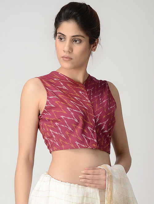 Pink-Ivory Front-open Cotton Ikat Blouse by Jaypore