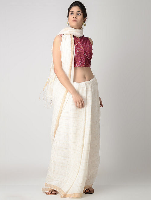 2133cf69c7ffcc Buy Pink-Ivory Front-open Cotton Ikat Blouse by Jaypore Online at ...