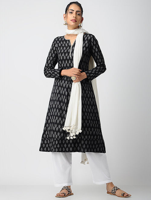 Black-Ivory Cotton Ikat Kurta with Pleats by Jaypore