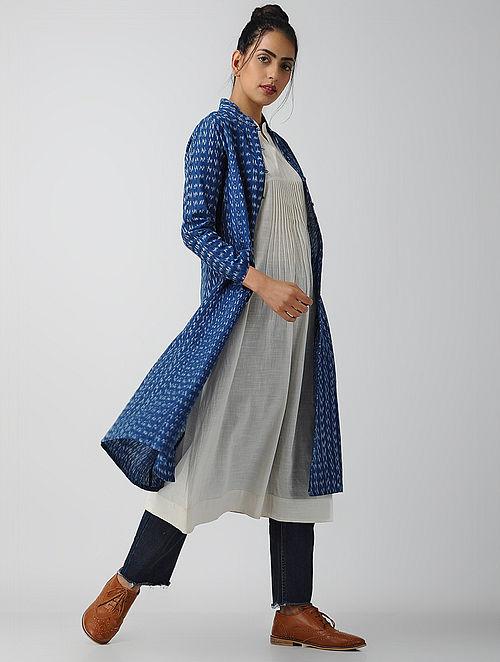 1db8ebc5b87905 Buy Blue-Ivory Front-open Cotton Ikat Kurta by Jaypore-L Online at ...