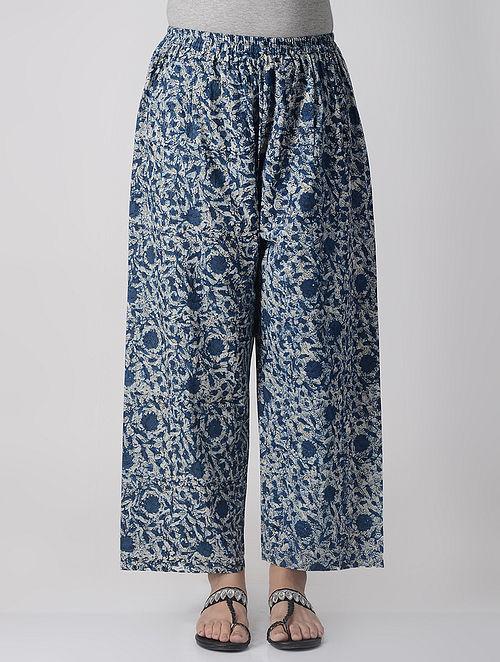 Indigo-Ivory Elasticated-waist Dabu Natural-dyed Cotton Palazzos