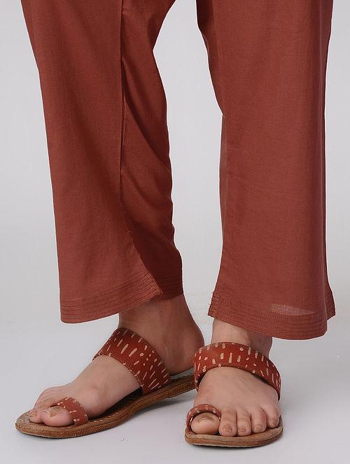 Rust Tie-up Waist Cotton Pants by Jaypore