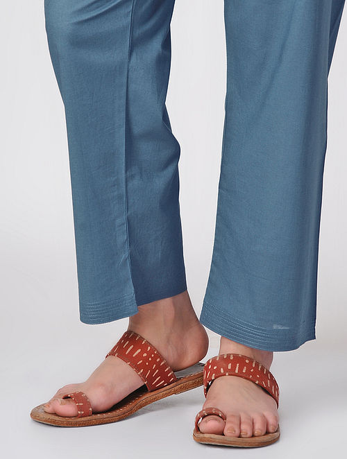 Blue Tie-up Waist Cotton Pants by Jaypore