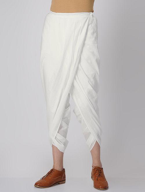 White Elasticated-waist Cotton Dhoti Pants by Jaypore