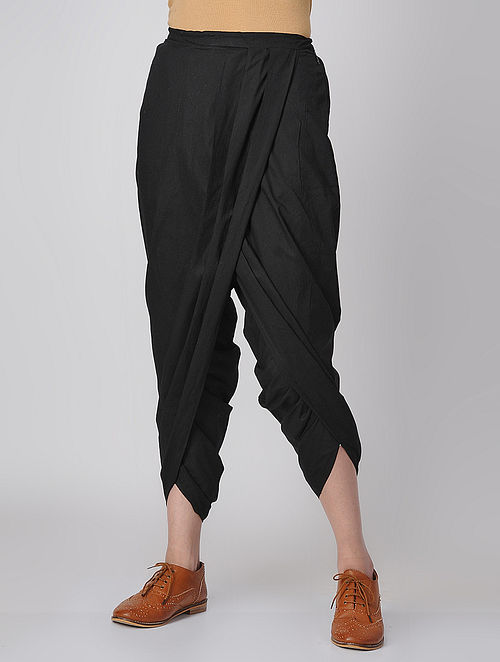Black Elasticated-waist Cotton Dhoti Pants by Jaypore