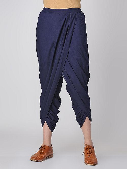 Blue Elasticated-waist Cotton Dhoti Pants by Jaypore