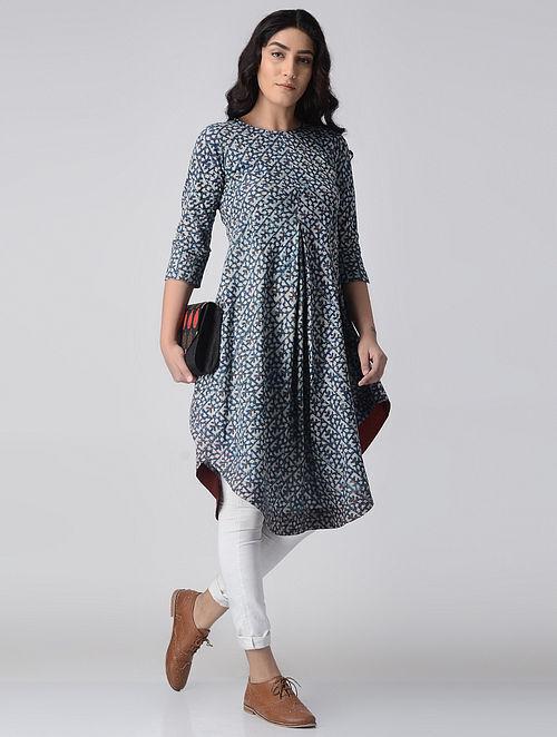 Indigo-Ivory Block-printed Cotton Kurta by Jaypore