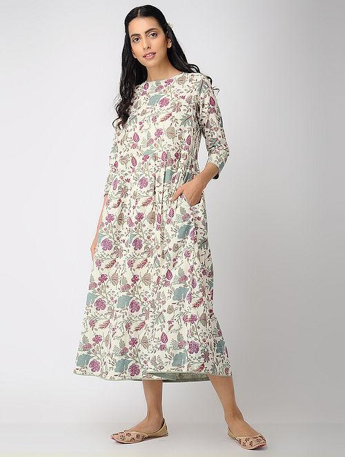 9b2a85457 Ivory-Pink Printed Cotton Dress with Zari Top-stitch. Dresses