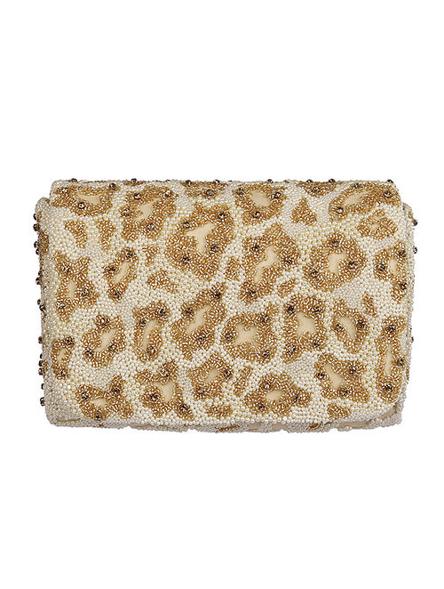 Gold Handcrafted Satin Clutch
