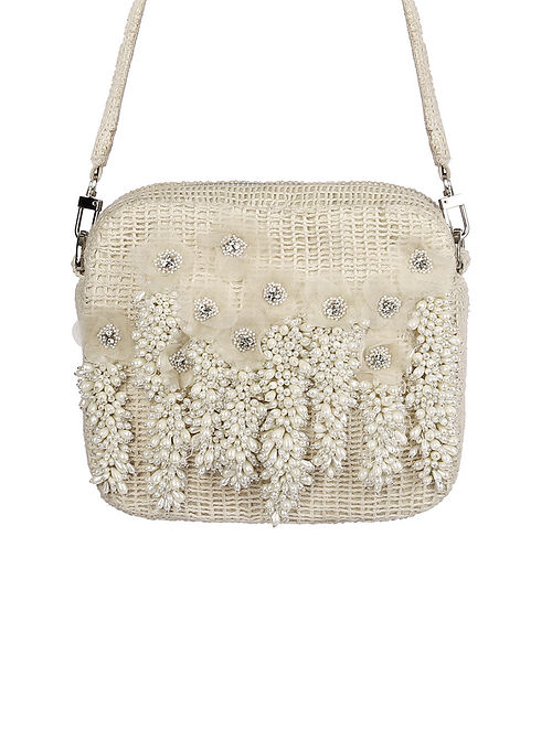 Ivory Hand Embroidered Beaded Satin Sling Bag