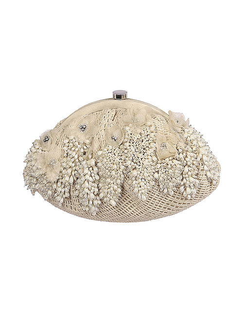 Ivory Hand Embroidered Satin Clutch