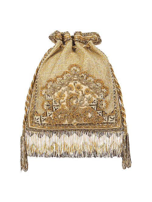 Gold Hand Embroidered Silk Potli