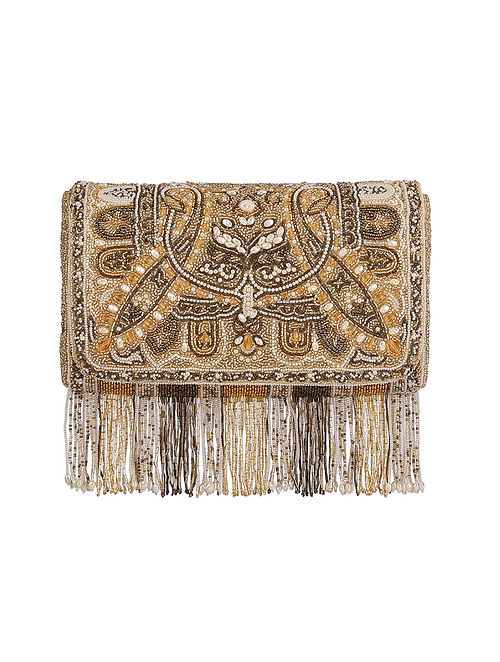 Gold Hand Embroidered Silk Clutch