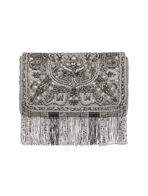 Silver Hand Embroidered Silk Clutch