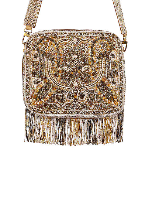 Gold Hand Embroidered Silk Sling Bag