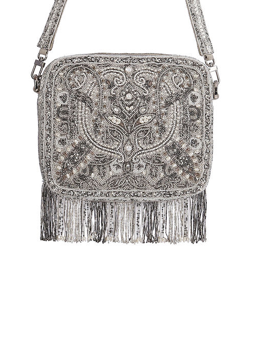 Silver Hand Embroidered Silk Sling Bag