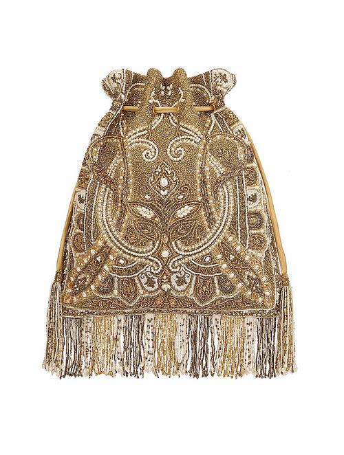 Gold Hand Embroidered Silk Potli