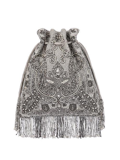 Silver Hand Embroidered Silk Potli