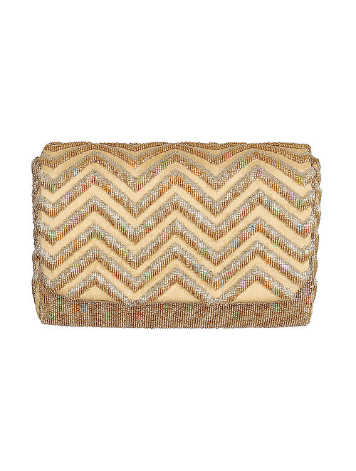 Gold Handcrafted Beaded Satin Clutch