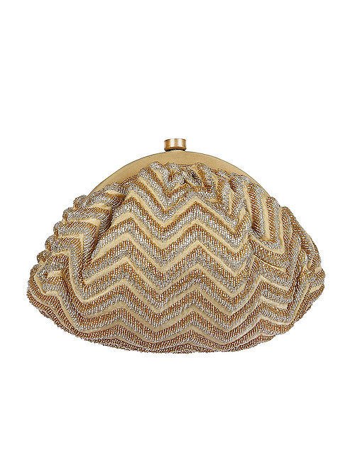 Gold Silver Handcrafted Beaded Satin Clutch