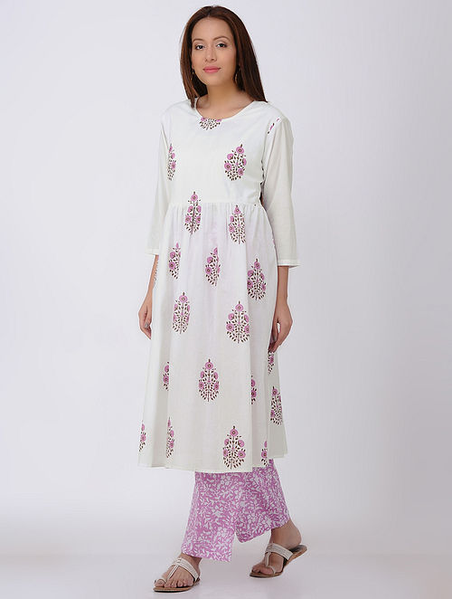 White-Pink Block-printed Cotton kurta with Palazzos (Set of 2)-L
