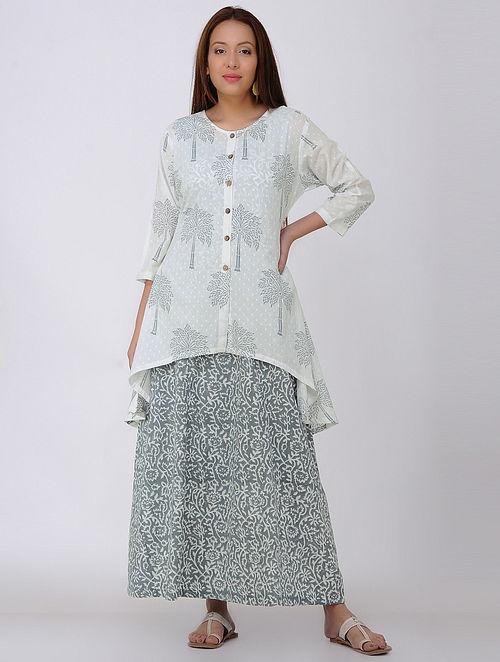White-Grey Block-printed Cotton Tunic with Slip (Set of 2)