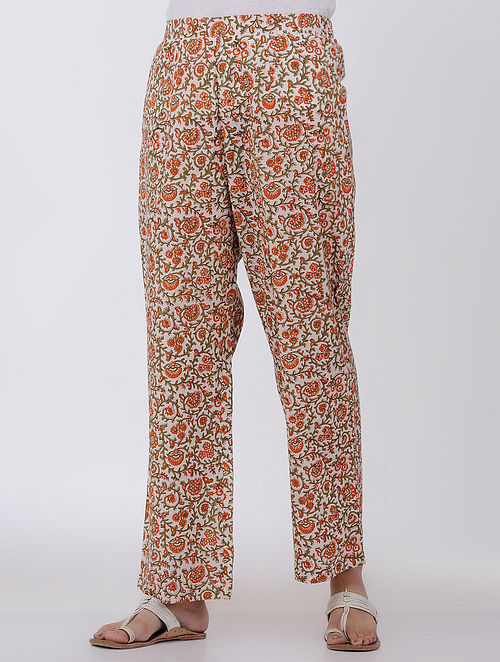 Beige-Rust Elasticated Waist Block-printed Cotton Pants-S