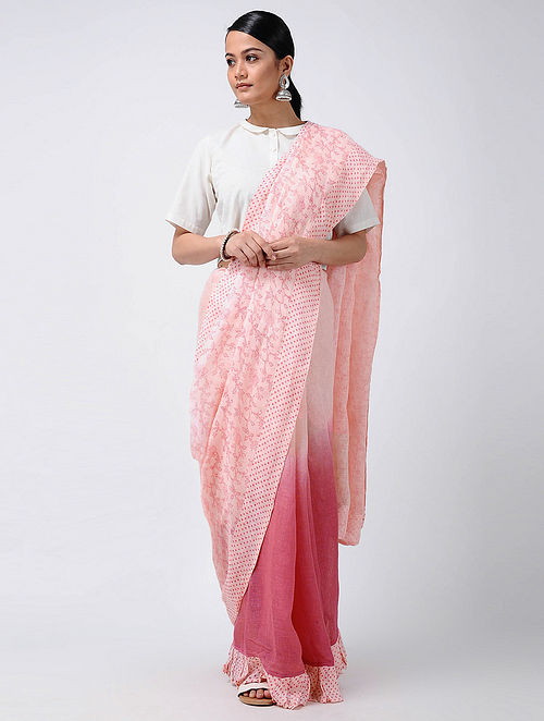 7dd9f2ffaa1f2 Buy Pink Ombre dyed and Block-printed Linen Saree Online at ...