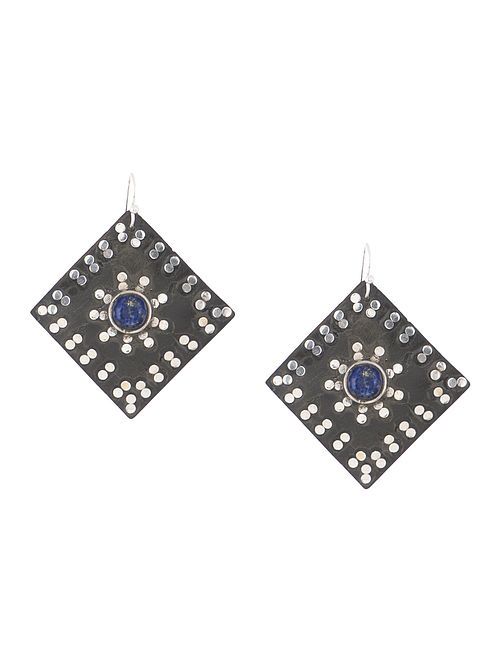 Lapis Lazuli Wood and Silver Earrings