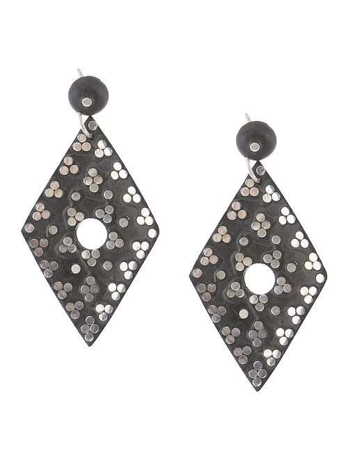 Classic Wood and Silver Earrings