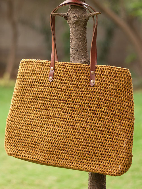 Brown Handcrafted Crochet Cotton Tote Bag