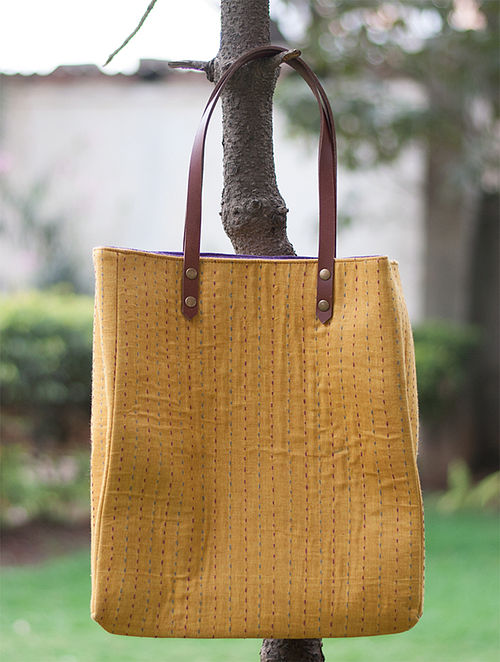 Mustard Yellow Handcrafted Cotton Tote Bag