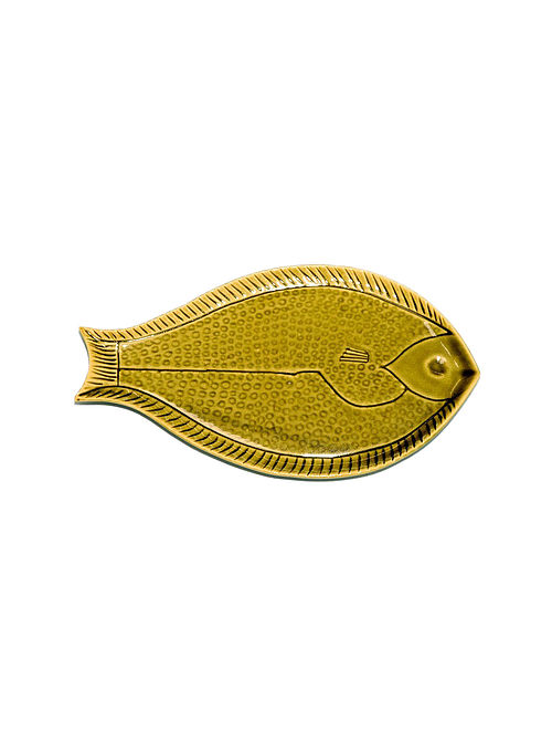 Green Serving Platter with Fish Design (9.8in x 5.5in)