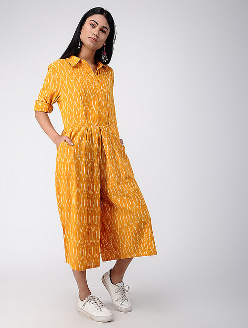 b85cd7edaae Buy Yellow Ikat Cotton Jumpsuit Online at Jaypore.com