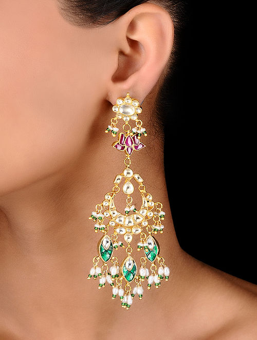 358c54444 Buy Pink-Green Gold Tone Padmaja Kundan Inspired Jadau Earrings ...