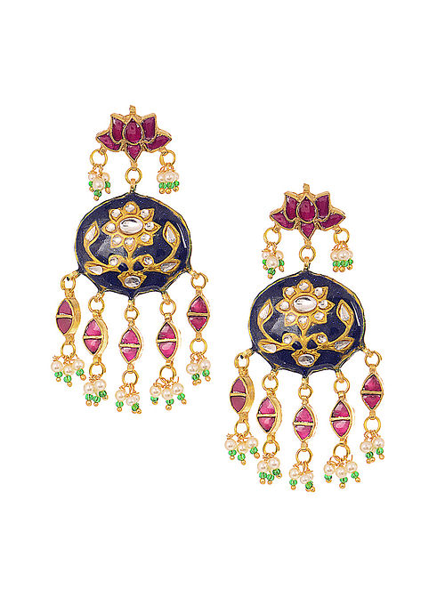 041529eda Buy Indigo-Pink Gold Tone Meenakari Earrings Online at Jaypore.com