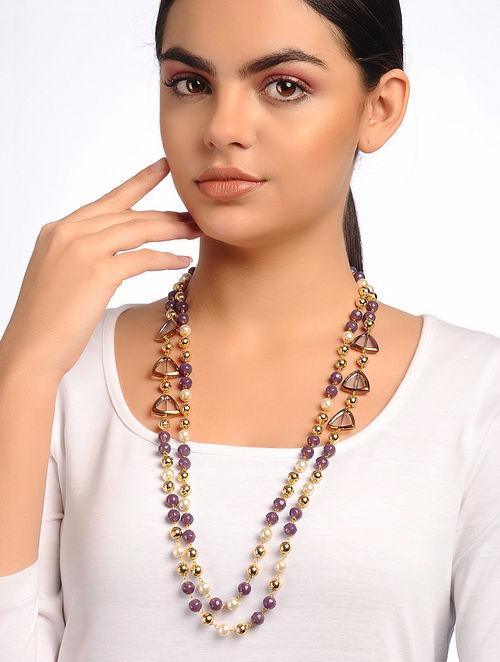 Purple White Beaded Necklace