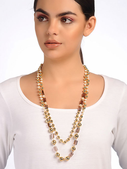 Brown Gold Glass Beaded Necklace