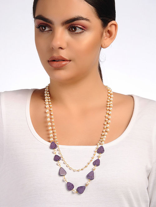 Purple White Jade and Pearl Beaded Necklace