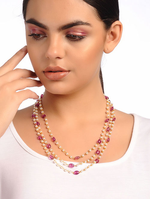 Purple White Tourmaline Pearl and Agate Necklace