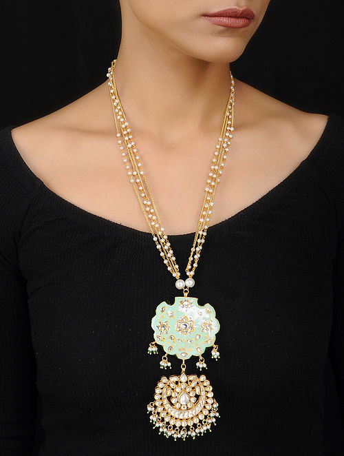 Mint Green Gold Plated Meenakari and Jadau Necklace with Pearls