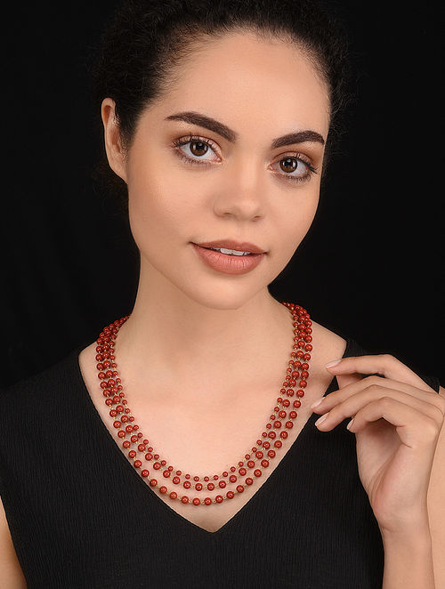 Coral Gold Tone Beaded Necklace