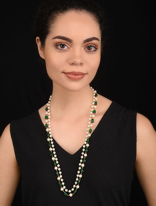 Green Onyx Gold Tone Pearl Beaded Necklace