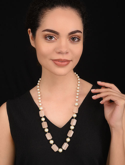 Pink Gold Tone Pearl Beaded Necklace
