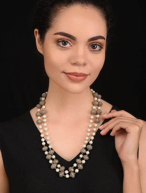 Grey Gold Tone Pearl Beaded Necklace
