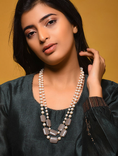 Grey Gold Tone Necklace with Pearls
