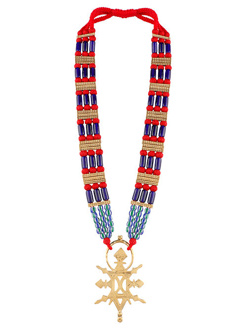 Multicolored Gold Tone Handcrafted Brass Necklace