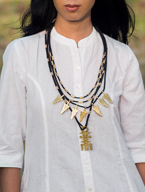 Black Gold Tone Handcrafted Brass and Thread Necklace