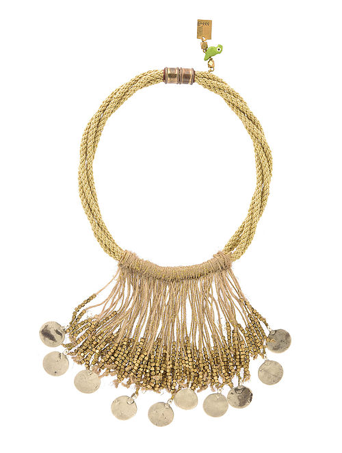 Gold Tone Handcrafted Jute and Brass Necklace