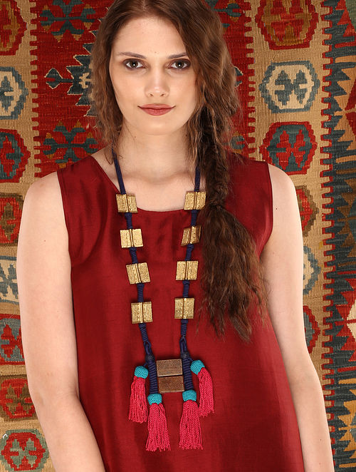 Red Blue Gold Tone Handcrafted Brass and Thread Necklace